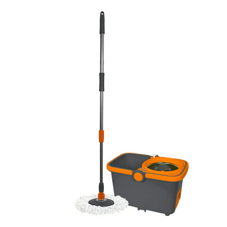 Casabella Spin Cycle  Mop With Bucket   2 Refills  Microfiber  58 5   Machine Washable