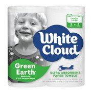 White Cloud GreenEarth Recycled Paper Towels, Choose-A-Size, 2 Giant Rolls