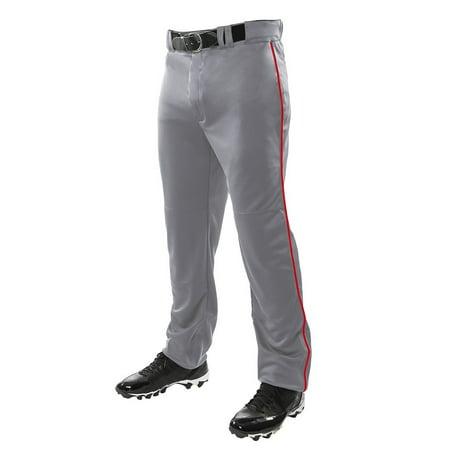 Martin YOUTH Baseball Softball Belt Loop Pants Grey with Single Stripe Piping, XS-XL
