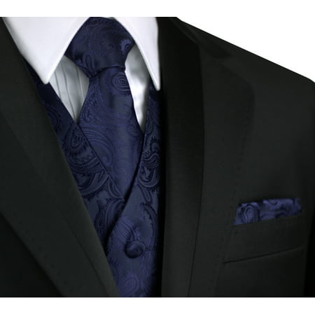 Italian Design, Men's Tuxedo Vest, Tie & Hankie Set in Navy
