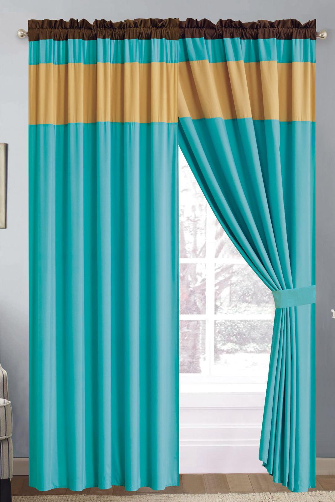 4 Pc Chic Solid Striped Curtain Set Turquoise Blue Gold Brown Sheer Liner Drape Rod Pocket Walmart Com Walmart Com