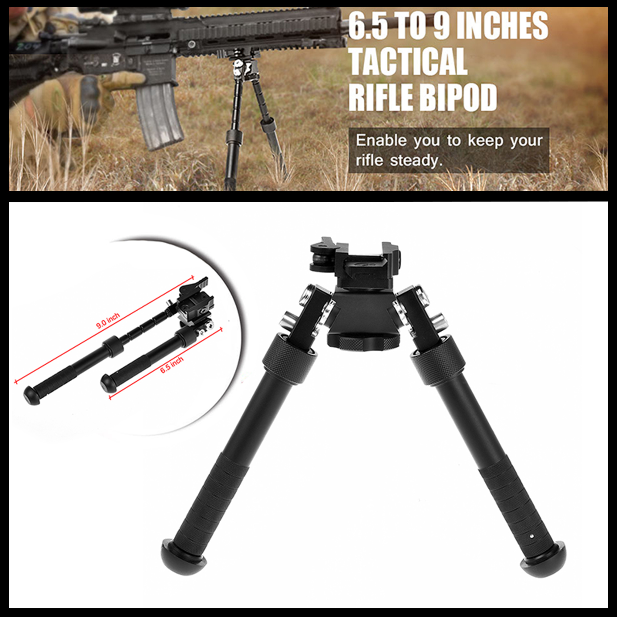 Foldable /& Length Adjustable Bipod for Mounting on 20 mm Picatinny//Weaver Rail