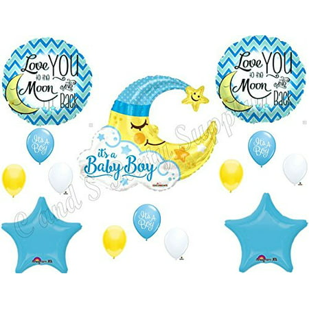 BABY BOY MOON shower Balloons Decoration Supplies Nursery Rhyme Diddle Stars (Boy Baby Shower Balloons)