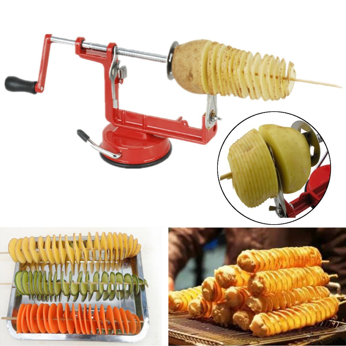 M.way Stainless Steel Spiral Slicer Twisted Potato Apple Manual French Fry Cutter