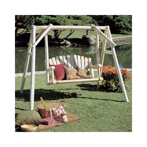 Rustic Natural Cedar Furniture Porch Swing with Stand by Rustic Cedar