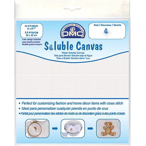 "Soluble Canvas 14 Count 8"" x 8, 1/2"" 1/pkg, White"