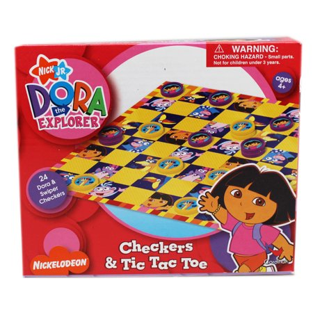 Dora the Explorer and Friends Kids Checkers and Tic Tac Toe Set