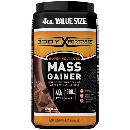 Body Fortress Super Advanced Mass Gainer Protein Powder, Chocolate, 40g Protein, 4lb, 64oz