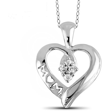 Jewelersclub 1 10 Carat T W  White Diamond Sterling Silver Mother Heart Pendant