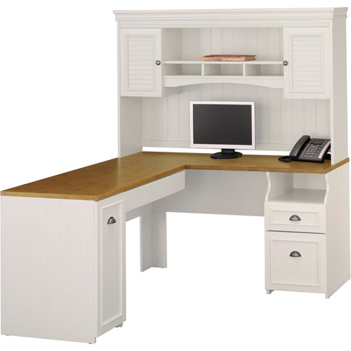 Bush Fairview L-Shaped Computer Desk/Hutch Set, White