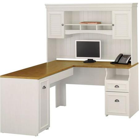 Bush Fairview L Shaped Computer Desk Hutch Set White