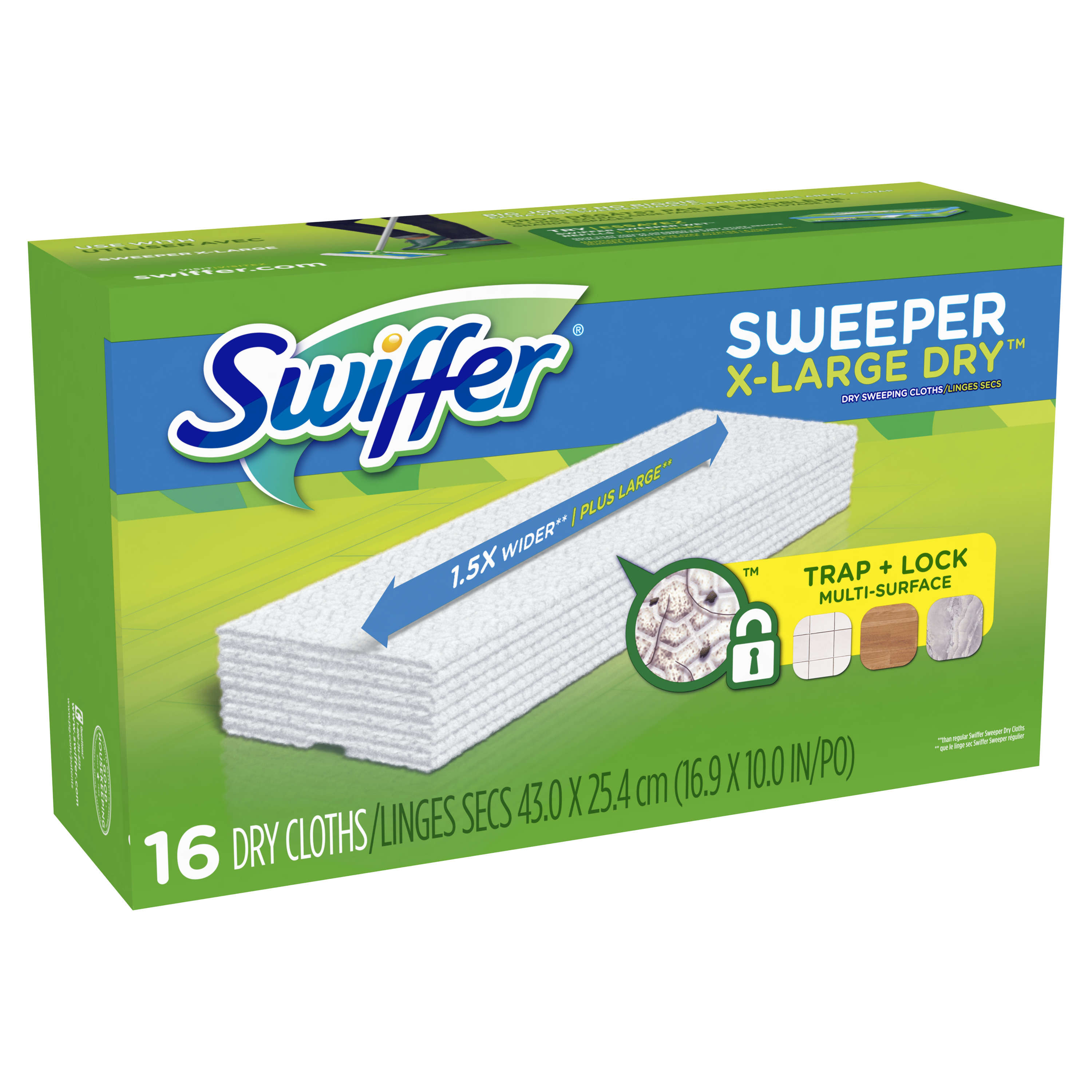 Swiffer Sweeper Dry Sweeping Pad Multi Surface Refills for X-Large Dusters Floor Mop, Unscented, 16 Count