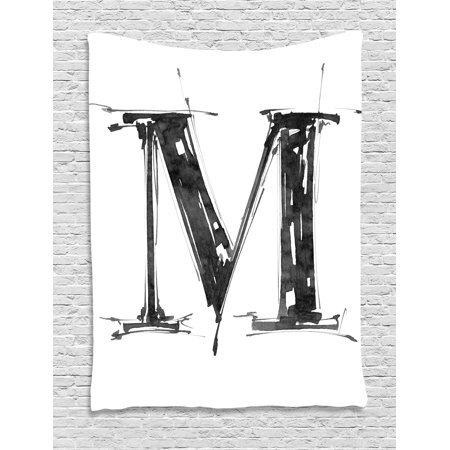 Letter M Tapestry, Alphabet Symbol in Sketchy Stencil Art Style Hand Drawn Effect Funky Calligraphy, Wall Hanging for Bedroom Living Room Dorm Decor, 40W X 60L Inches, Black White, by - Calligraphy Stencil