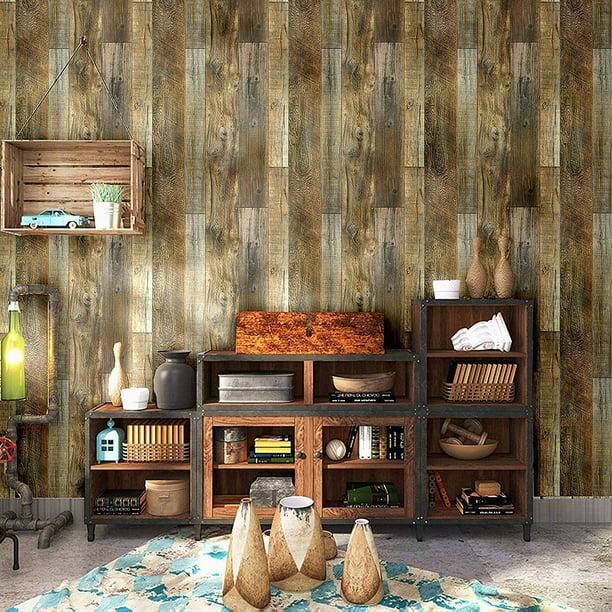 Peel And Stick Wood Plank Wallpaper Shiplap 17 7 X 19 7ft Brown Walmart Com Walmart Com
