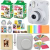 Fujifilm Instax Mini 9 Instant Camera WHITE + Fuji INSTAX Film (40 Sheets) + Accessories Kit Bundle + Custom Case with Strap + Assorted Frames + Photo Album + 60 Colorful Sticker Frames + MORE This kit includes 11 items, Camera includes manufacturer's supplied accessoriesFujifilm instax mini 9 Instant Film Camera (Smokey White), Features: Fujinon 60mm f/12.7 Lens, Optical Viewfinder, Built-In Flash and Auto Exposure Mode, Brightness Adjustment Dial, High-key mode, Macro Attachment LensFujifilm INSTAX Mini Instant Film Pack (40 sheets) - Stylish Custom Fitted Case with Detachable Strap - 64 Pocket Photo Album for Instax Mini Photos (Approx 114 x 140 x 28mm)60 Assorted Colorful Mini Film Sticker Borders - 5 Colorful Hard Frames - 10 Colorful Paper Hanging Frames with Colorful Hanging Clips and Rope4 Colorful filters; Blue, Green, Red and Orange (for capturing pictures in a unique colorful style) - Large attachment selfie mirror (for capturing Selfie photos) - HeroFiber® Ultra Gentle Cleaning Cloth
