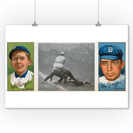 Brooklyn Superbas   Edw  B  Barger William Bergen   Baseball Card  9X12 Art Print  Wall Decor Travel Poster