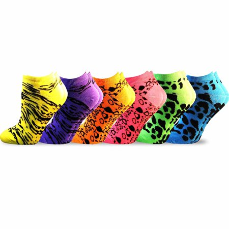 TeeHee Women's Acrylic No Show Low Cut Basic 6-Pack (Neon Animal