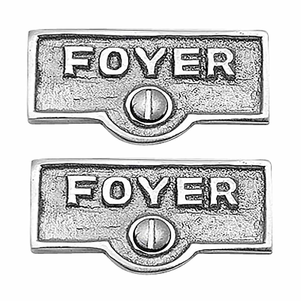 Renovators Supply Chrome FOYER Name Sign Switch Plate Tag