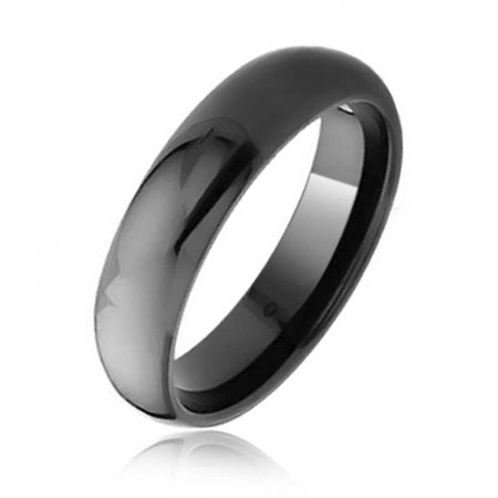 Plain Simple Dome Black Couples Wedding Band Tungsten Ring For Men For Women Comfort Fit - Plain 6mm Tungsten Carbide Ring