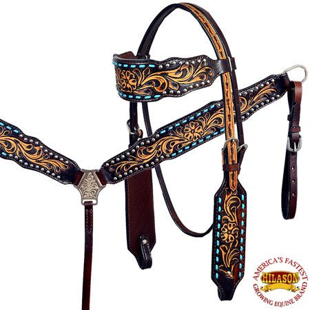 HILASON WESTERN LEATHER HORSE BRIDLE HEADSTALL BREAST COLLAR BROWN HAND CARVED