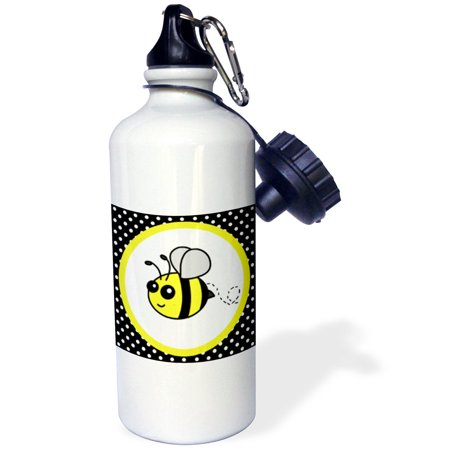 3dRose Cute Yellow Bumble Bee on Black and White Polka Dots , Sports Water Bottle, 21oz Bumble Bee Caps