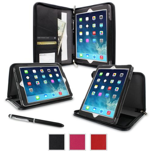 iPad Air 1 Case - roocase Executive Portfolio Leather iPad Air 2013 Case Smart Cover (Supports Auto Sleep/Wake) for Apple iPad Air 1 (2013) 5th Generation, Black