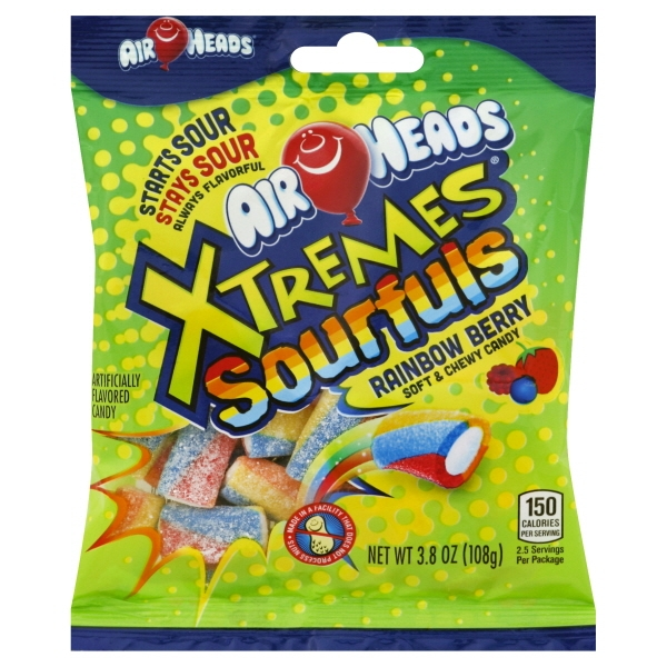 Air Heads Xtremes Sourful Soft & Chewy Candy Rainbow Berry, 3.8 OZ
