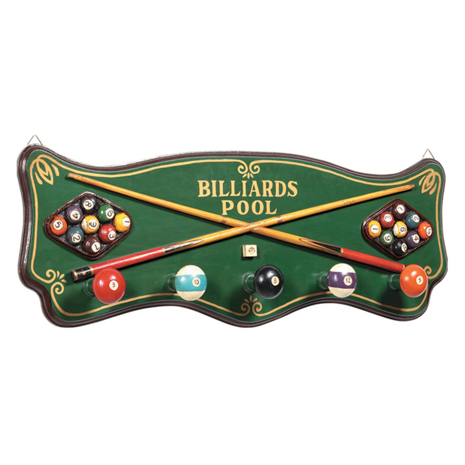 Billiards Coat Rack Wall Décor