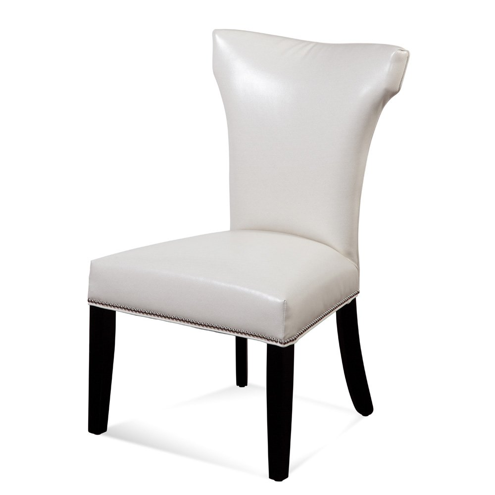 Bassett Concorde Nailhead Parsons Chair w  Kleen Seat (Ivory) by