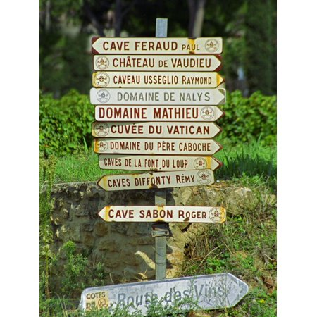 Road Signs to Wine Producers in Chateauneuf-Du-Pape, Provence, France Print Wall Art By Per