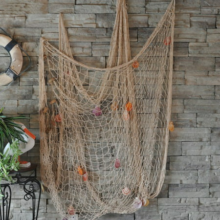 Decorative Nautical Fishing Net Seaside Wall Beach Party Sea Shell Decor INS Style,Off White