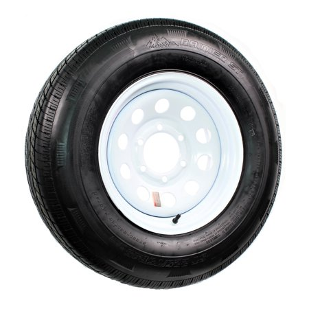 Radial Trailer Tire + Rim ST225/75R15 225/75-15 15 D 6 Lug Wheel White Modular