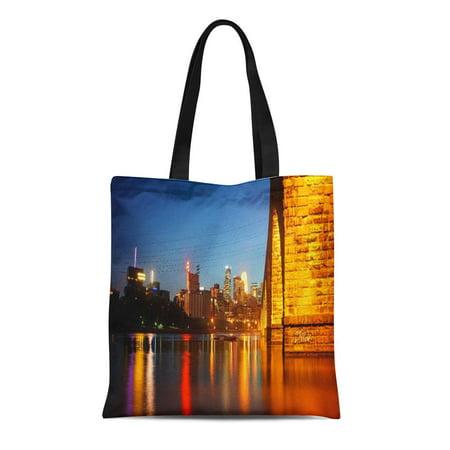 Midwest Tote - LADDKE Canvas Tote Bag Minnesota Minneapolis Stone Arch Bridge at Midwest Landmark Mississippi Reusable Handbag Shoulder Grocery Shopping Bags