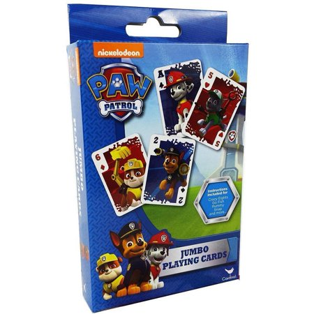 Childrens Paw Patrol Jumbo Playing Cards, Card instructions for Crazy Eights, Go Fish, Rummy, Snap and more! By Jumbo Cards Paw Patrol From -