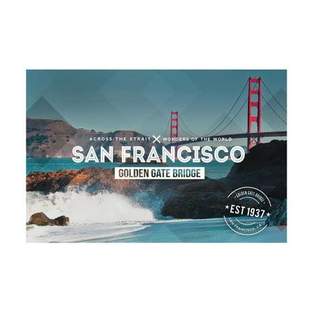 San Francisco, CA - Golden Gate Bridge and Waves - Stamp Print Wall Art By Lantern