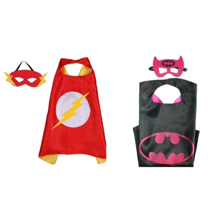 Flash & Batgirl Costumes - 2 Capes, 2 Masks with Gift Box by Superheroes - Flash Mask