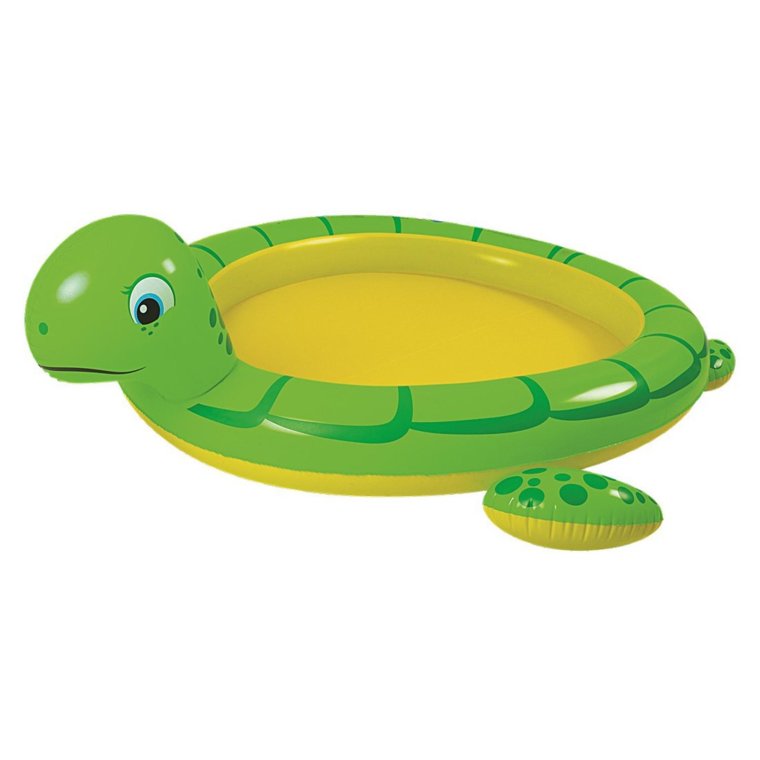"""214"""" Green and Yellow Inflatable Sea Turtle Children's Spray Pool - image 1 de 2"""