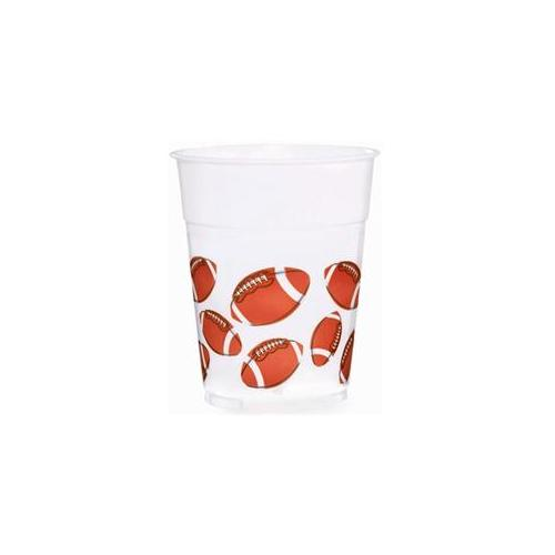 8 Pack Game Day 14oz Plastic Football Cups - Super Bowl Party Supplies