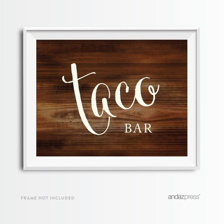 Taco Bar Rustic Wood Wedding Party Signs