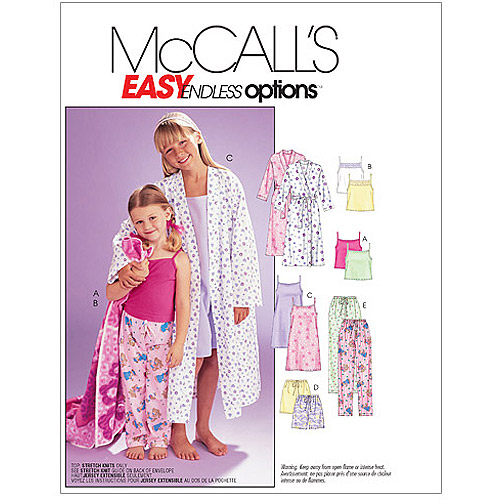 McCall's Pattern Children's and Girls' Robe, Belt, Tops, Gown, Shorts and Pants, Z (M, L, XL)