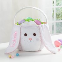 Personalized Kids Embroidered Easter Basket – White Bunny