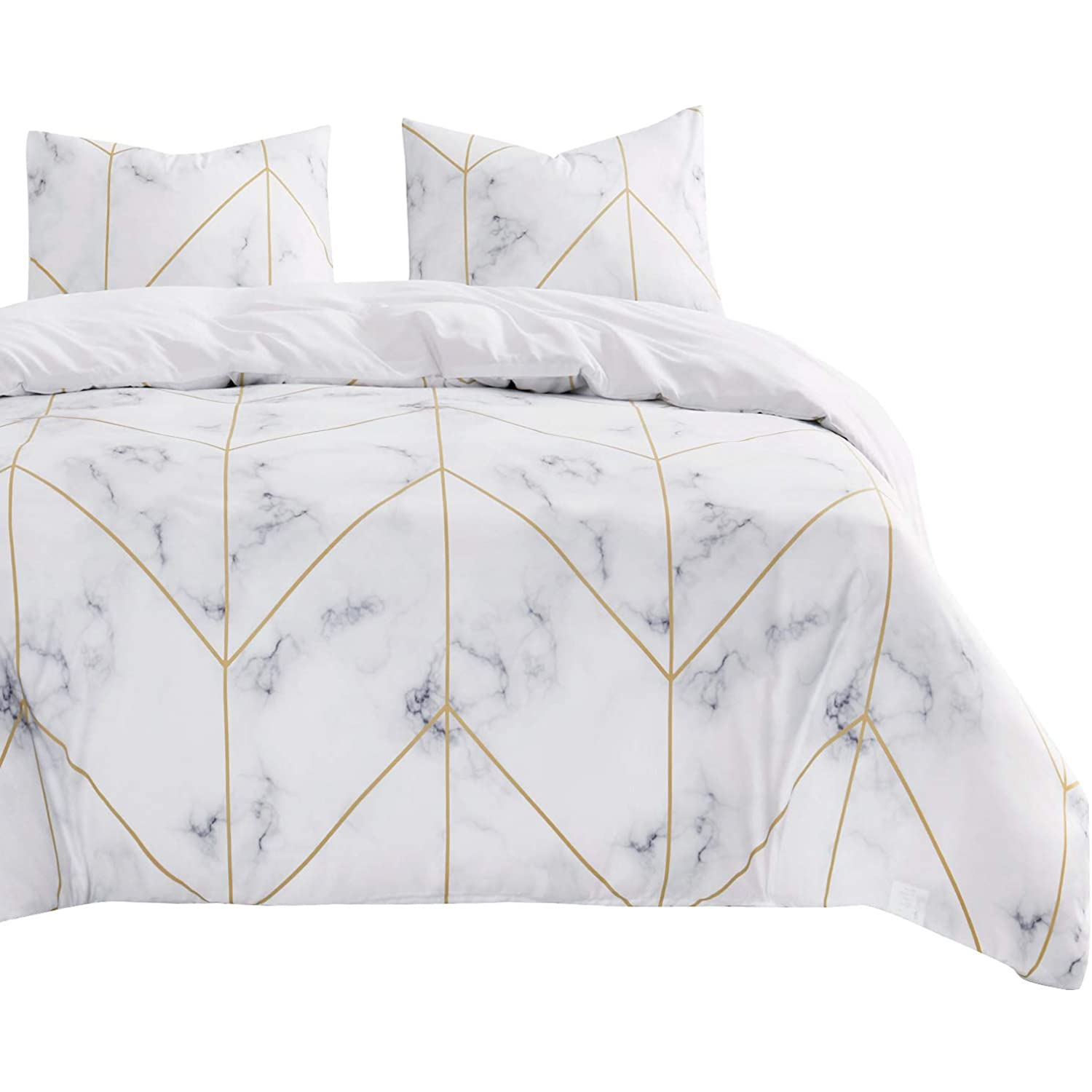 3pcs, California King Size Marble Comforter Set Wake In Cloud Soft Microfiber Bedding Gray Grey Black and White Pattern Printed