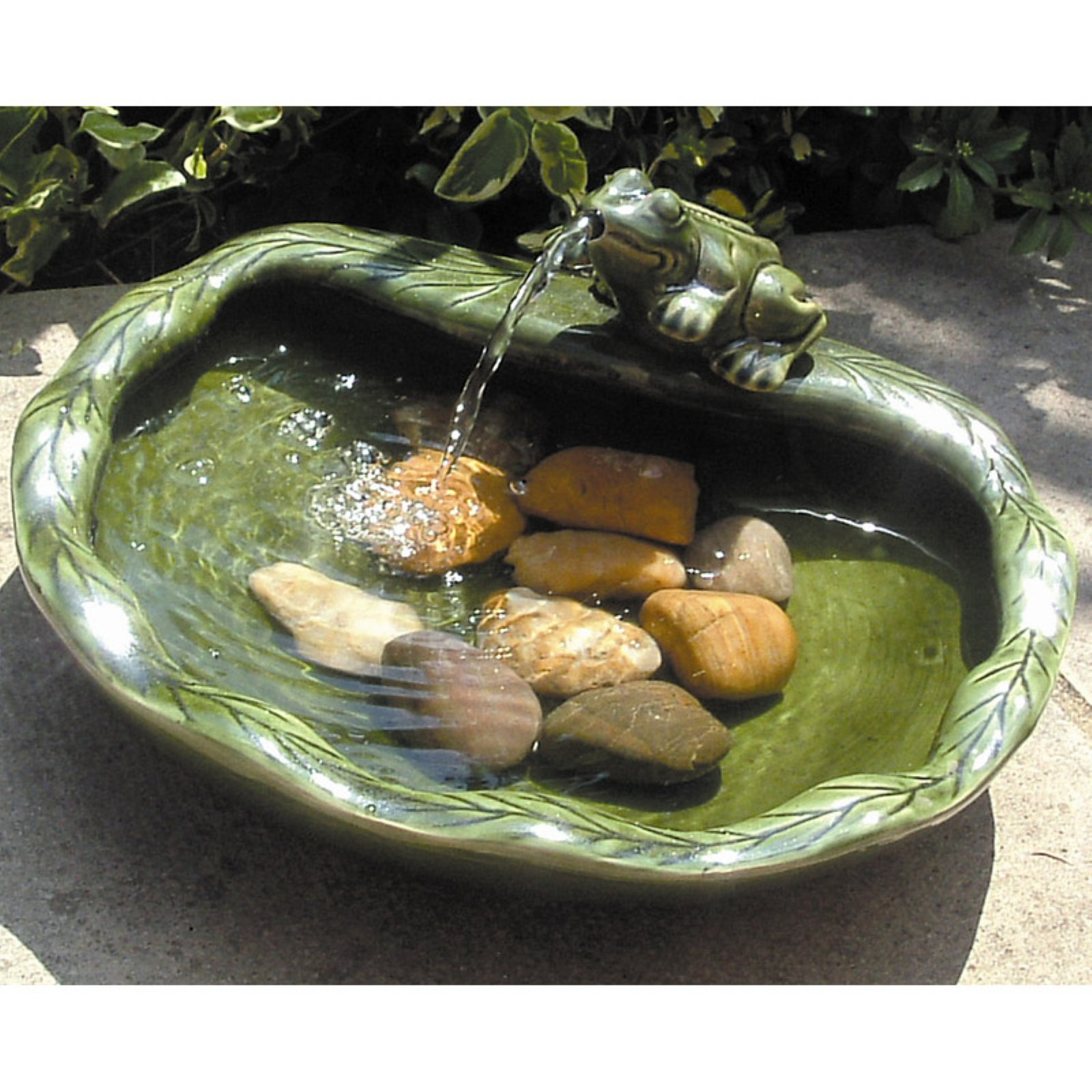 Ceramic Solar Frog Fountain - Glazed Gre