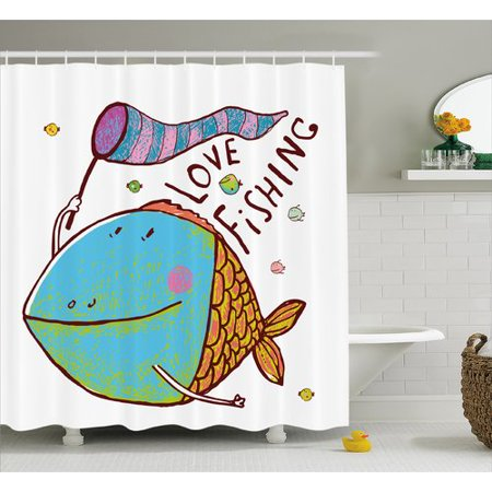 Fishing Shower Curtain Kids Cute Large Fat Fish Holding A Flag With Love Quote Humor Fun Nursery Theme Fabric Bathroom Set Hooks Multicolor