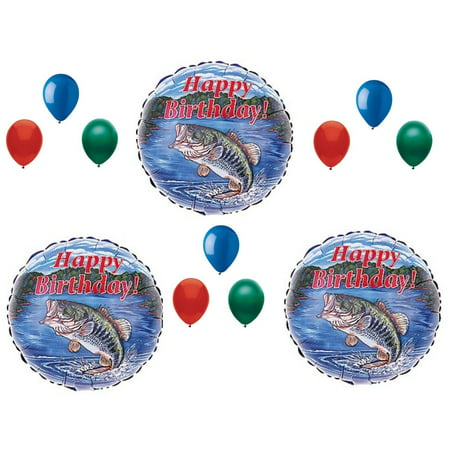 Bass Fish Fishing Birthday Party Balloons Decoration Supplies Camping 12 pcs - Fishing Birthday