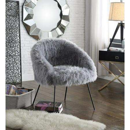 Inspired Home Norah Faux Fur Accent Chair Walmart Com