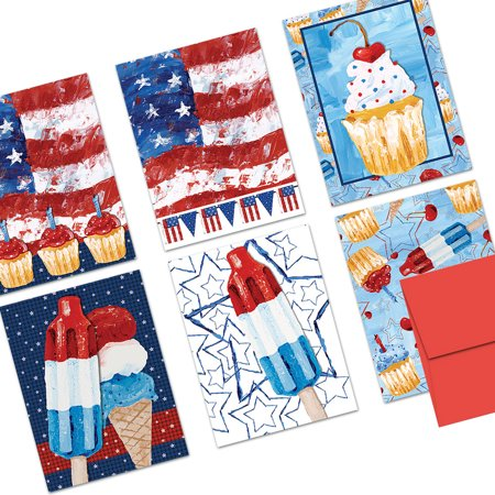 72 Note Cards - Patriotic Treats - 6 Designs - Blank Cards - Red Envelopes Included