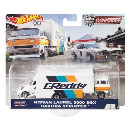 Hot Wheels 2018 Car Culture Team Transport Nissan Laurel 2000 SGX Sakura Sprinter 1/64 Scale Diecast Car Set