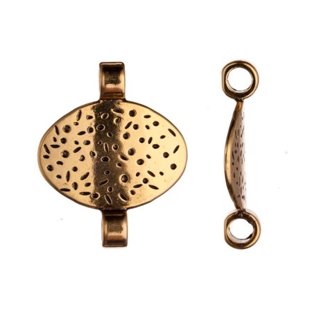 personalized Bracelets Charms, Antique Gold-Plated, Hammer Tone Patterned Oval Slider Beads