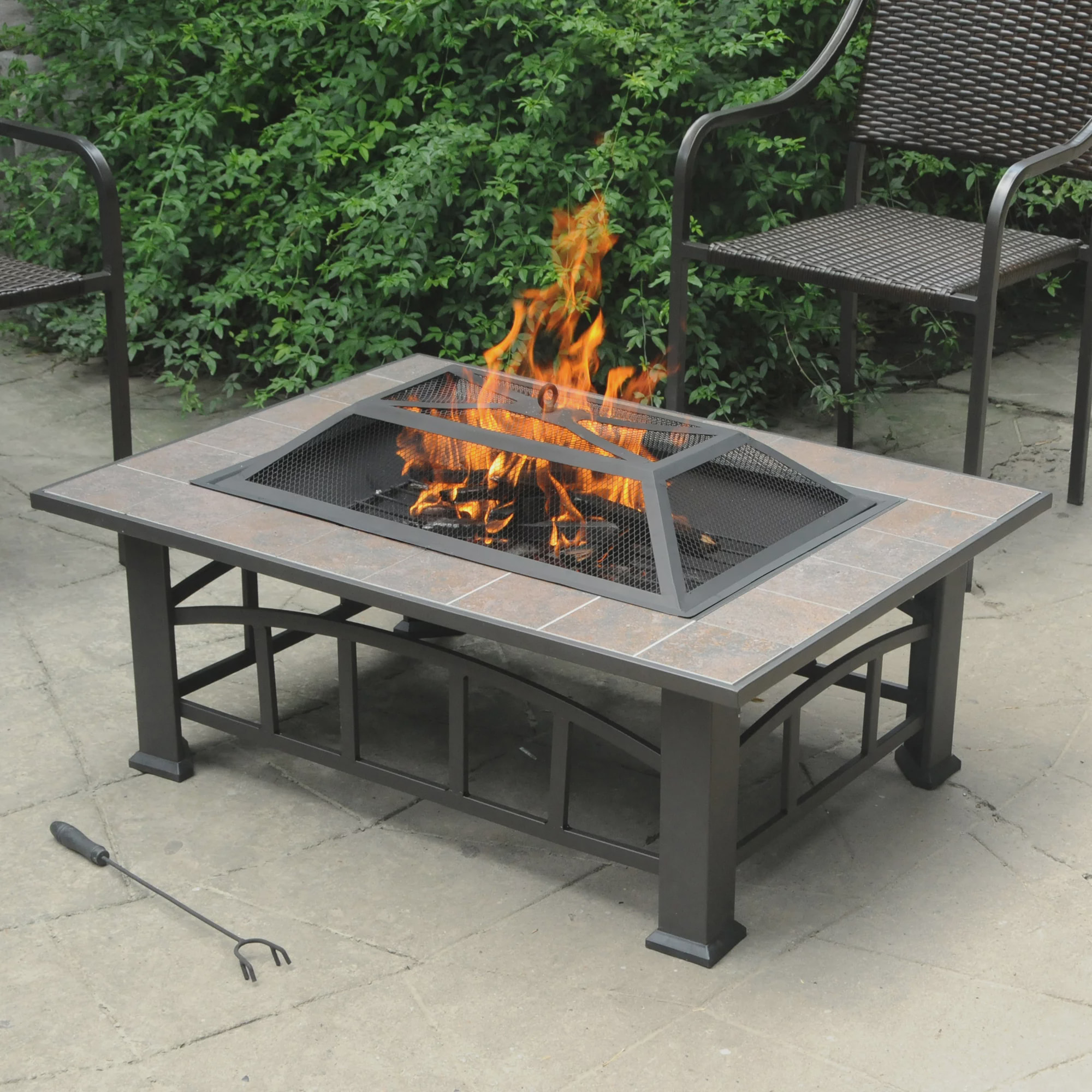 Axxonn Rectangular Tile Top Fire Pit Brownish Bronze 37 X 28 Wood Burning Fire Bowl Walmart Com Walmart Com